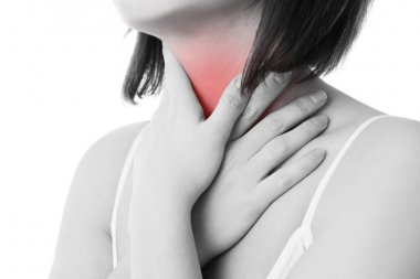 Sore throat of a women