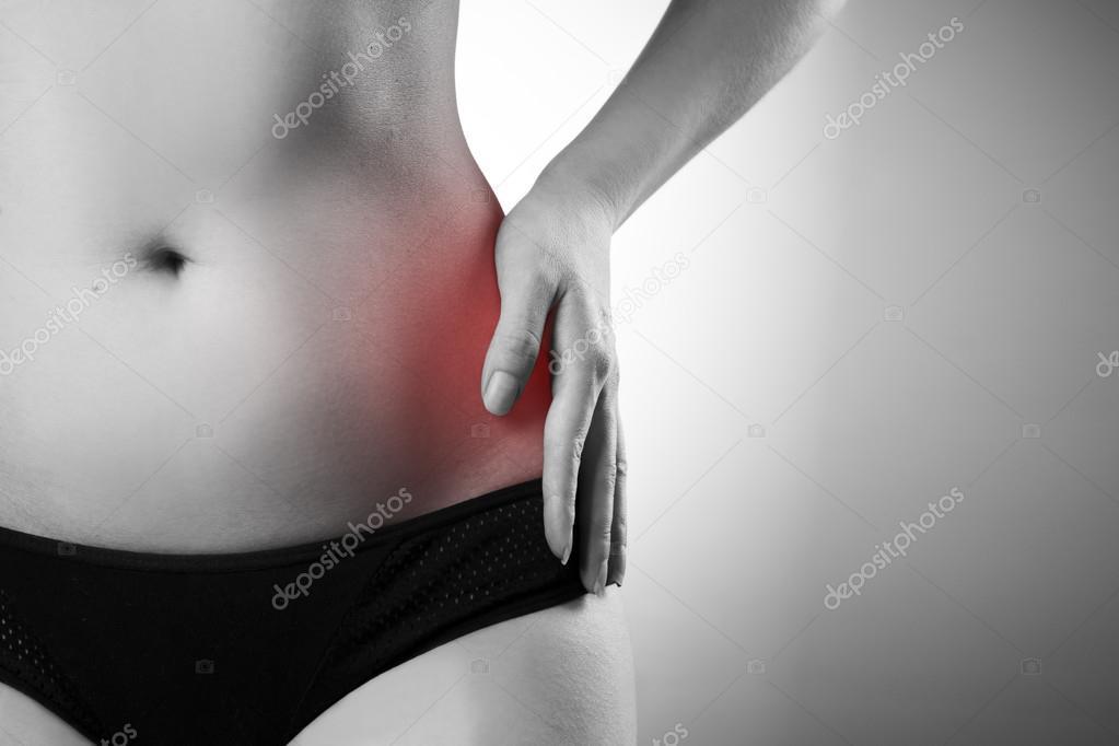 Schmerzen in der linken Seite. Schmerzen im Körper Frau — Stockfoto ...