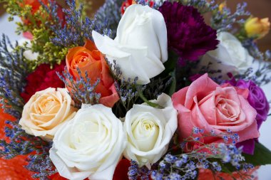 Bouquet of white, red and yellow roses