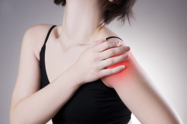 Woman with pain in shoulder. Pain in the human body
