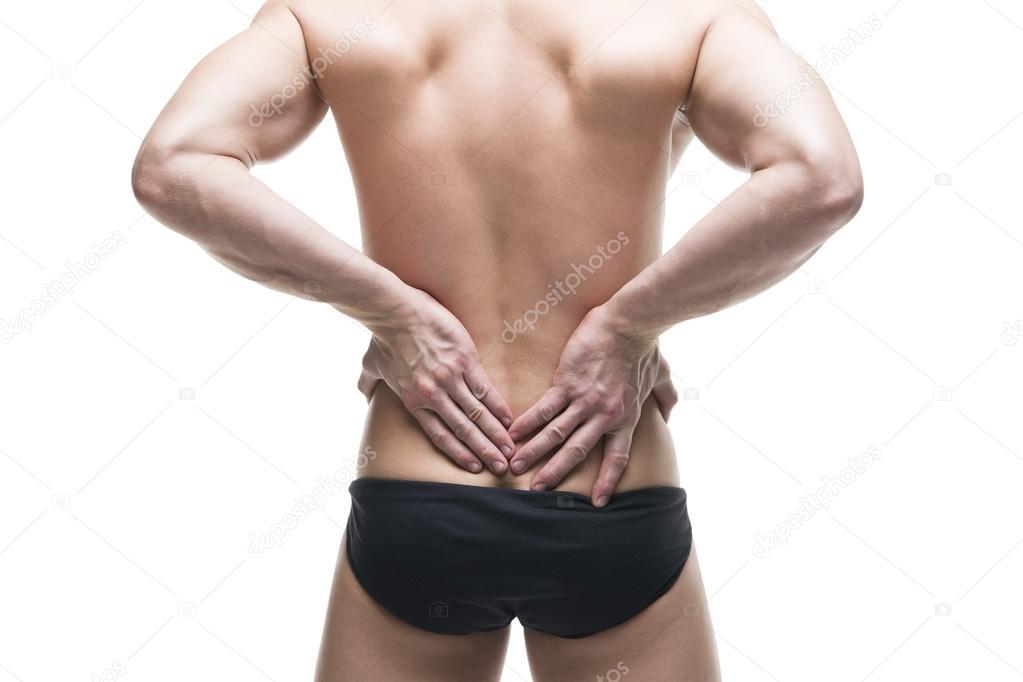 Mann mit Rückenschmerzen. Schmerzen im menschlichen Körper ...