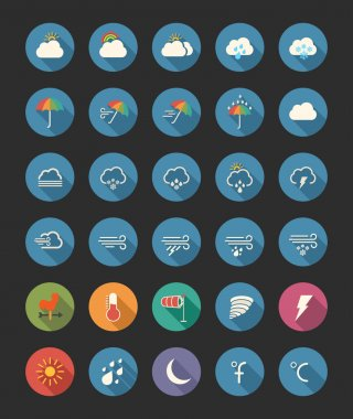 A set of flat weather icons clip art vector