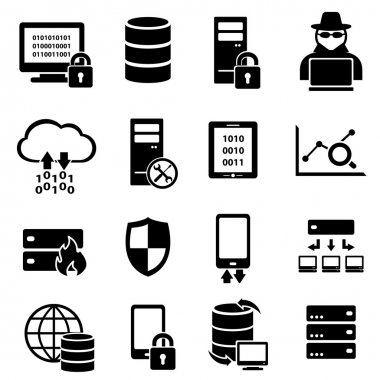 Cyber security, virus, and computer security icons