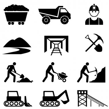 Mining and miner icon set
