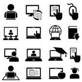 Online vzdělávání a učení ikony