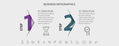 Vector infographic with 2 step, label, numeral, icons. Timeline used for diagram, chart, web, banner, presentations, flowchart, info graph, timeline, content, levels, chart icon