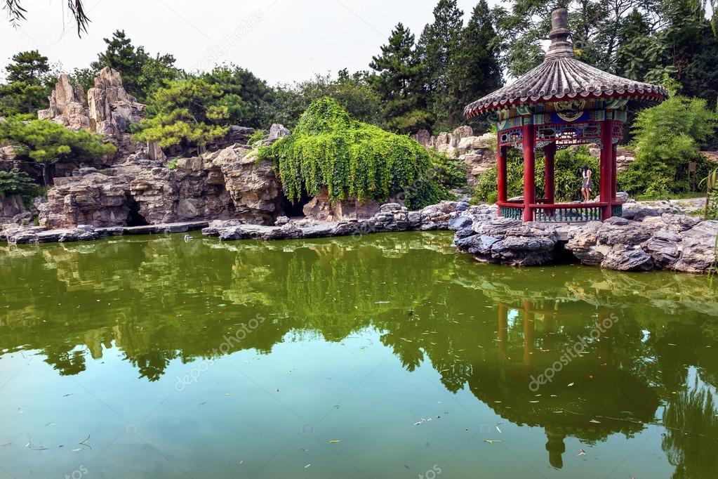 Roten Pavillon Steingarten Wasser Teich Tempel Von Sun City Park