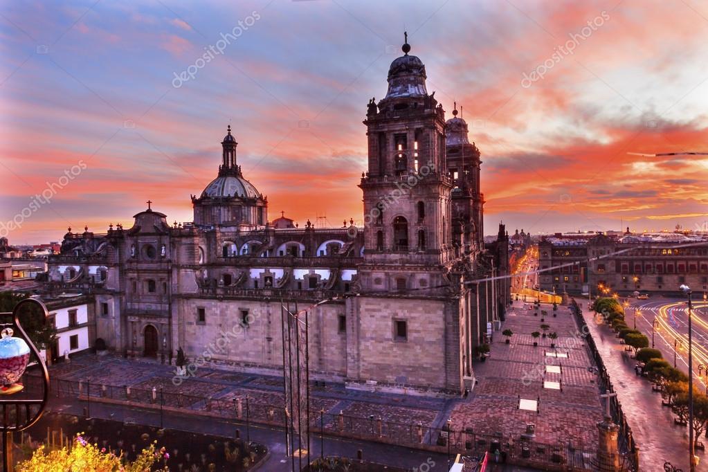 Metropolitan Cathedral Zocalo Mexico City Sunrise