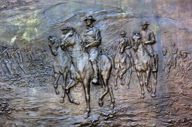 General Sherman Civil War Memorial Bronze Bas Relief Marching Th