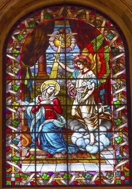 Anunciation Mary Angel Gabriel Stained Glass San Francisco el Gr