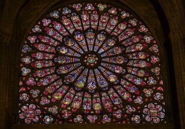 Rose Window Mary Jesus Stained Glass Notre Dame Paris France