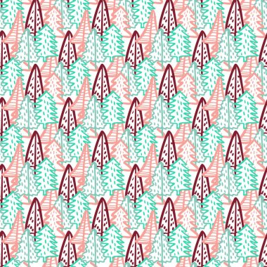 Christmas Tree Doodle Seamless Pattern. Winter Stylized Simple Fir Trees Endless Design for Wrapping Paper, Scrapbooking, Textile and Wallpaper. Vector illustration icon