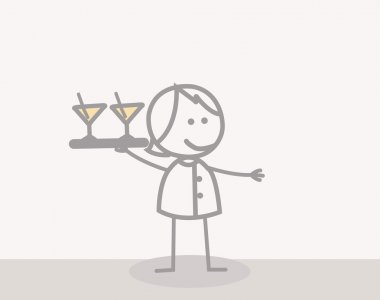 Funny Doodle : Waiter Woman