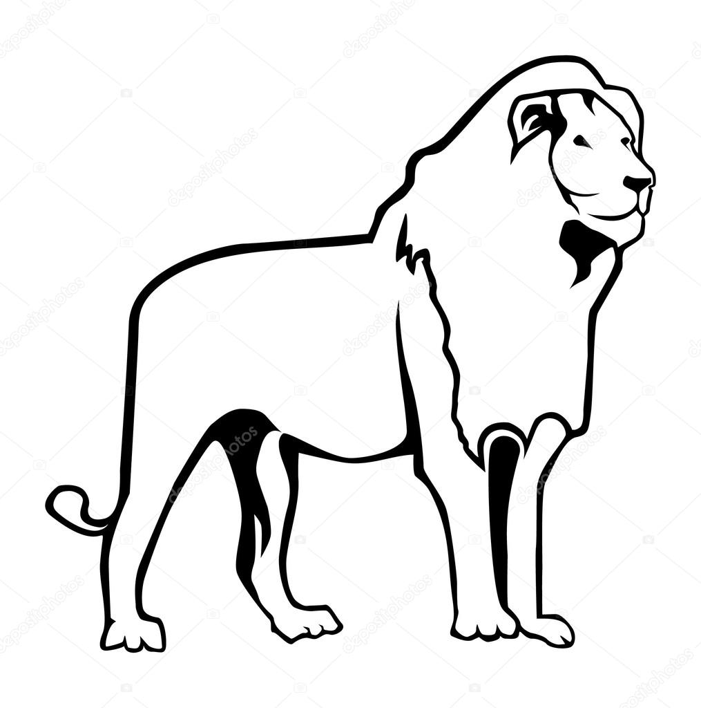 lion outline vector by redrockerz99