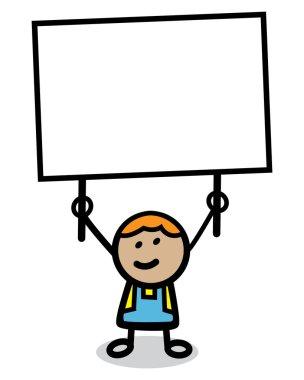 Illustration of kid with banner cartoon