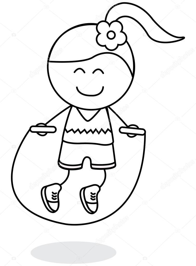 Imágenes: un niño saltando la cuerda para colorear | Deporte salto ...