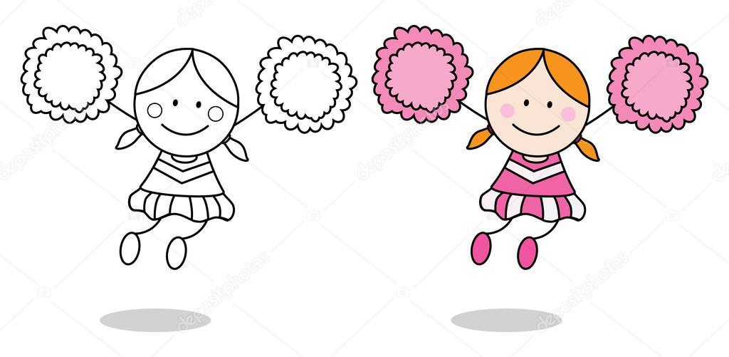 Página para colorear de animadora niña — Archivo Imágenes ...