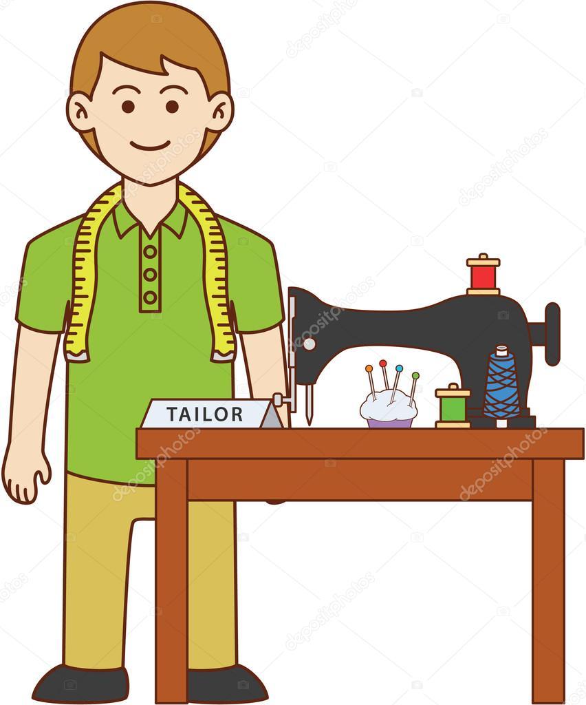 Tailor doodle cartoon — Stock Vector © redrockerz99 #89076140