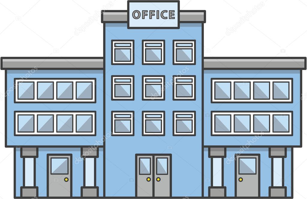Office Building Doodle Illustration Cartoon Stock Vector