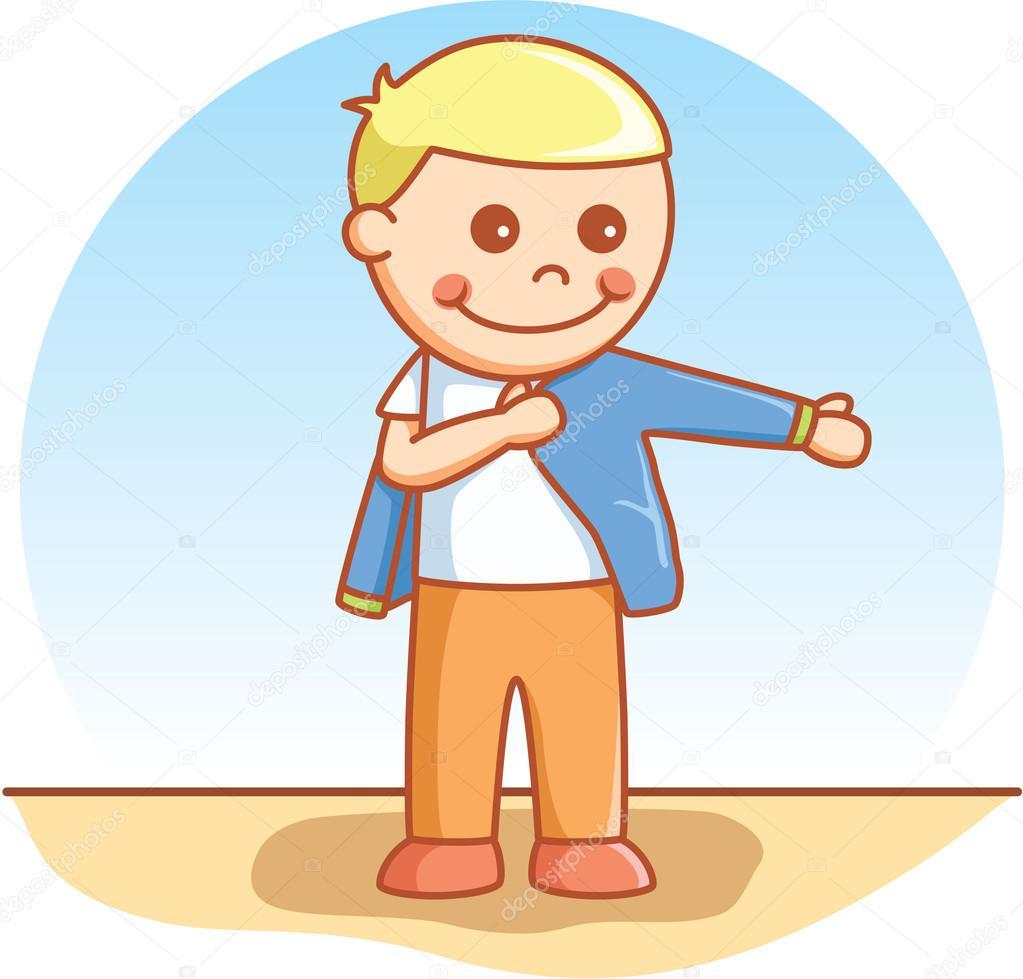 옷을 입고 하는 소년 — 스톡 벡터 © redrockerz99 #96477936