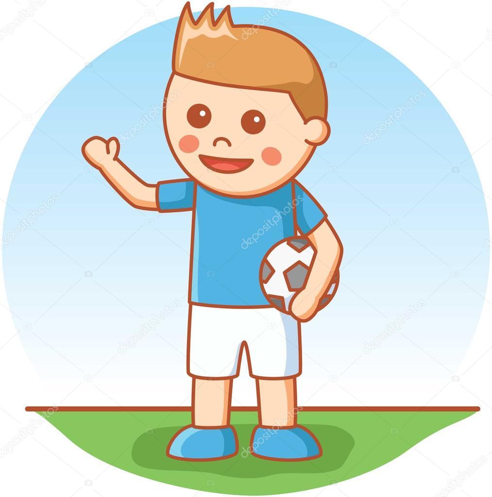 Junge Spielt Fussball Stockvektor C Redrockerz99 98271218