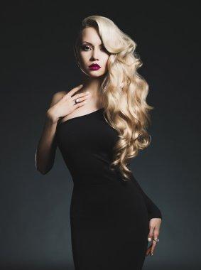 Fashion-art photo of elegant blonde on black background stock vector
