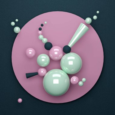 abstract 3D illustration with different geometric figures made of plastic