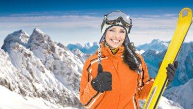 Female skier in  Alps