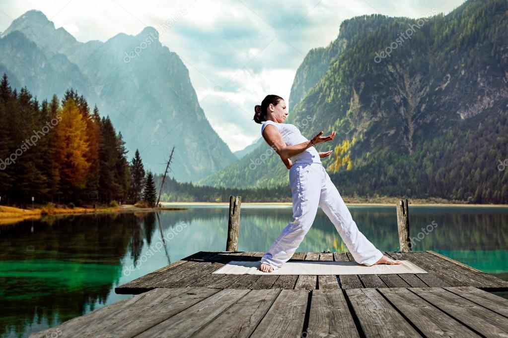 Young woman doing Tai chi