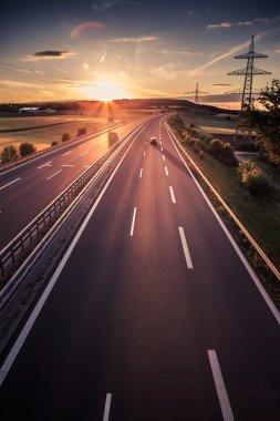 motorway in Germany on sunset