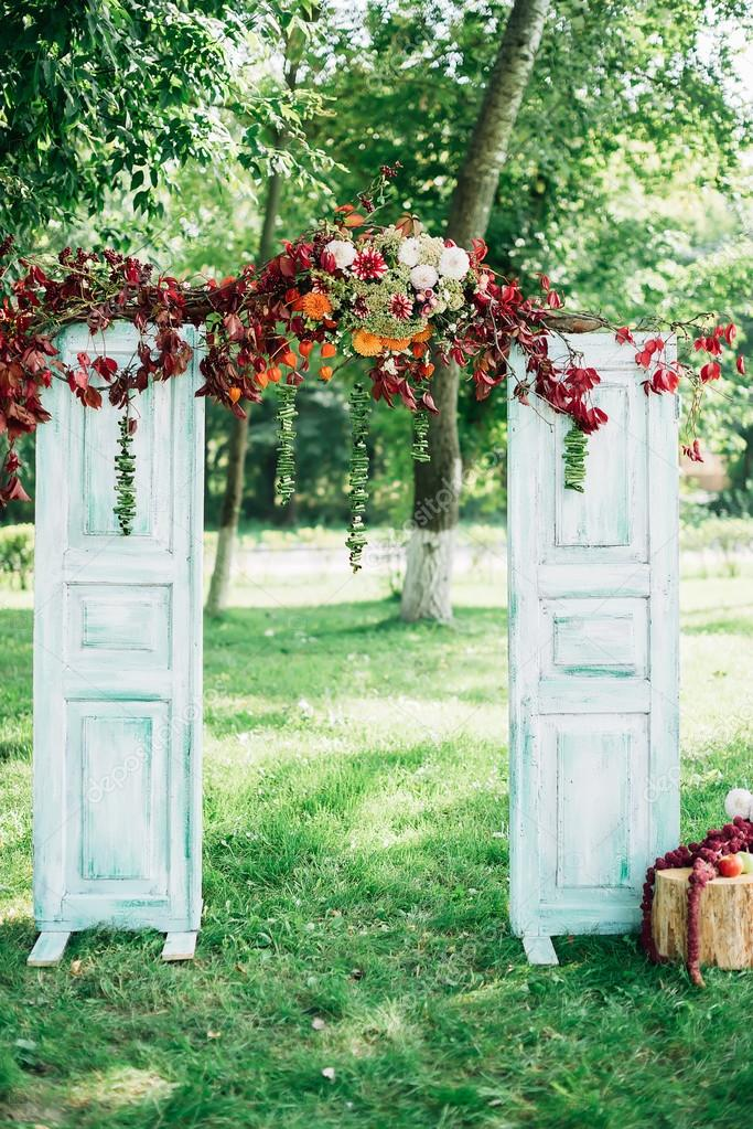 Wedding arch decorated with flowers