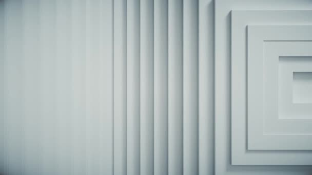 Abstraktes Muster von Quadraten mit Offset-Effekt. Weiße, leere Animationswürfel. Abstrakter Hintergrund für Unternehmenspräsentation. Das Zentrum ist zur Seite verschoben. Nahtlose Schleife 4k 3d render