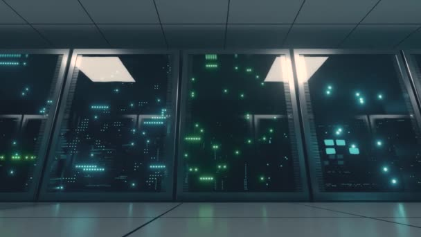 Networked and data servers behind glass panels in a server room. The camera moves on a trolley in the center of the network and data processing. Powerful servers. High quality 4K 3D animation
