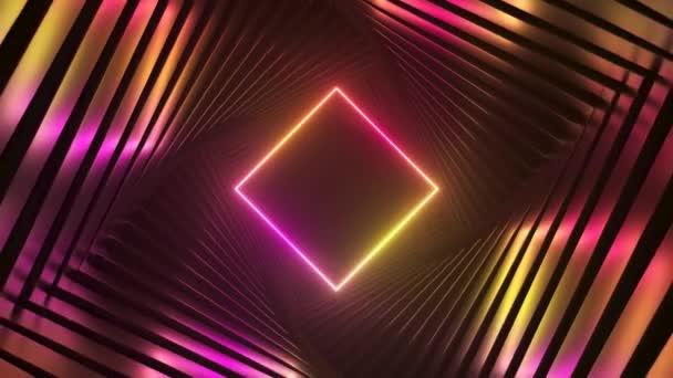 Abstrakter, futuristischer ultravioletter Hintergrund, sich drehender Tunnel mit rosa-gelbem Neonlicht. Modernes Neonlichtspektrum. Nahtlose 3D-Renderschleife