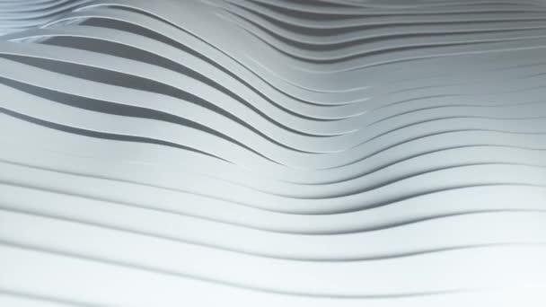Pozadí řady barevných vyskakovacích bílých pruhů. Animace barevného gradientu vln. Budoucí geometrické vzory pohybu pozadí. Bezešvé smyčkové 3D animace