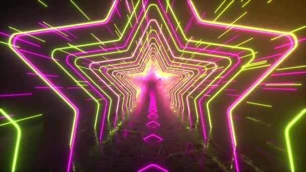 Absztrakt neon háttér. Neon csillagok és vonalak mozognak az űrben. Tükröződés. Futurisztikus háttér. Neonforgalom. Zökkenőmentes hurkolás 3D 4K animáció