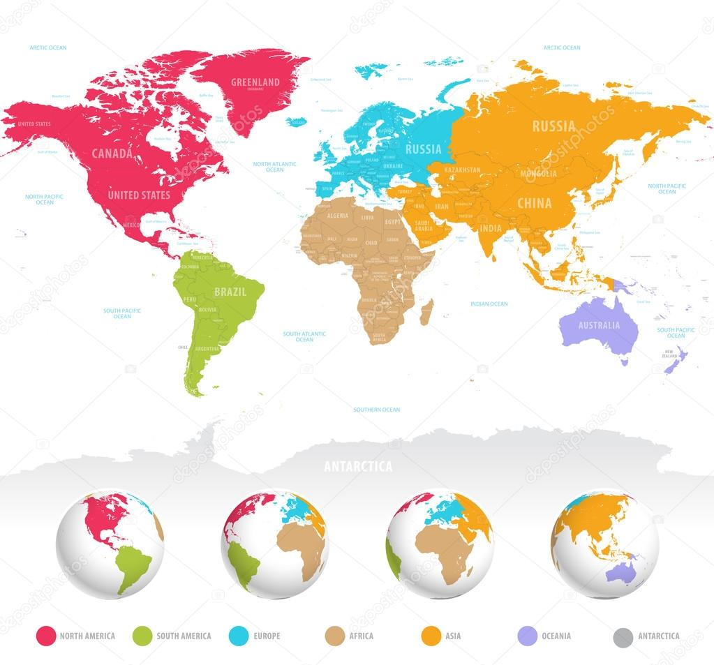 Colorful Vector World Map Stock Vector Fourleaflovers - World map political with country names