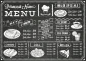 Šablona nabídky restaurace tabuli