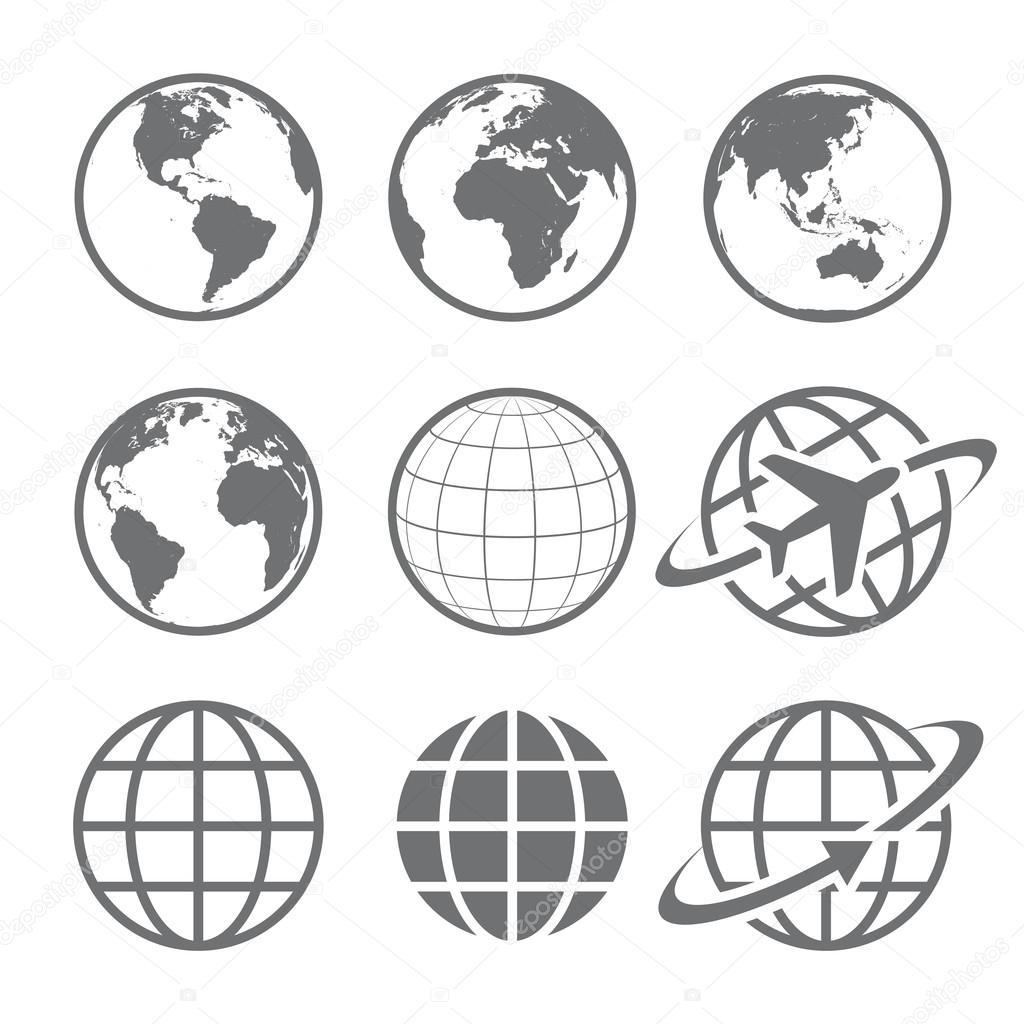 Earth globe Icon set