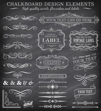 Vector Vintage Chalkboard Labels and Ornaments