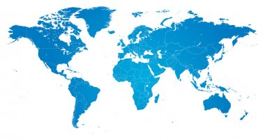 Hi Detail Blue Vector Political World Map illustration
