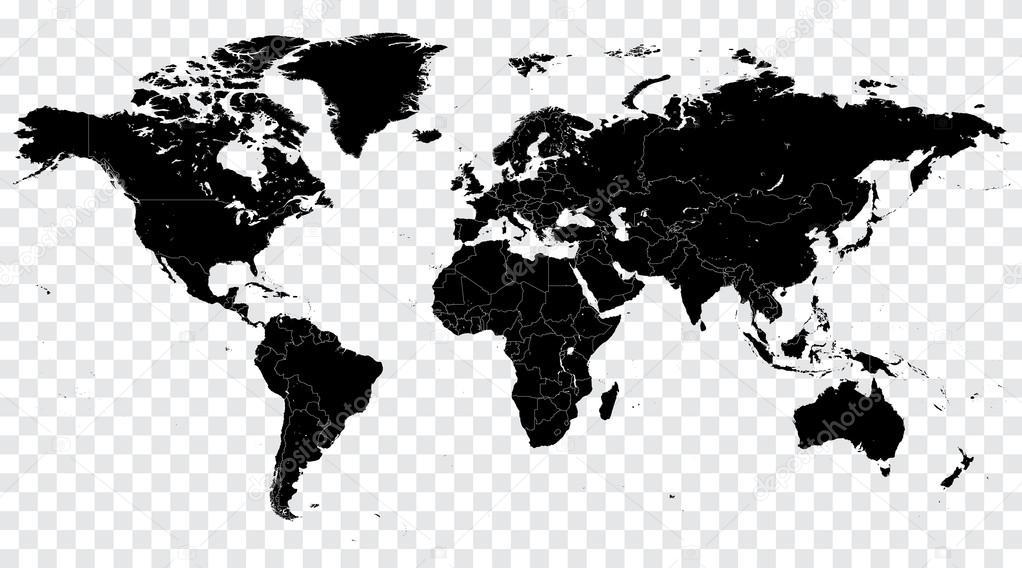 Hi Detail Black Vector Political World Map illustration