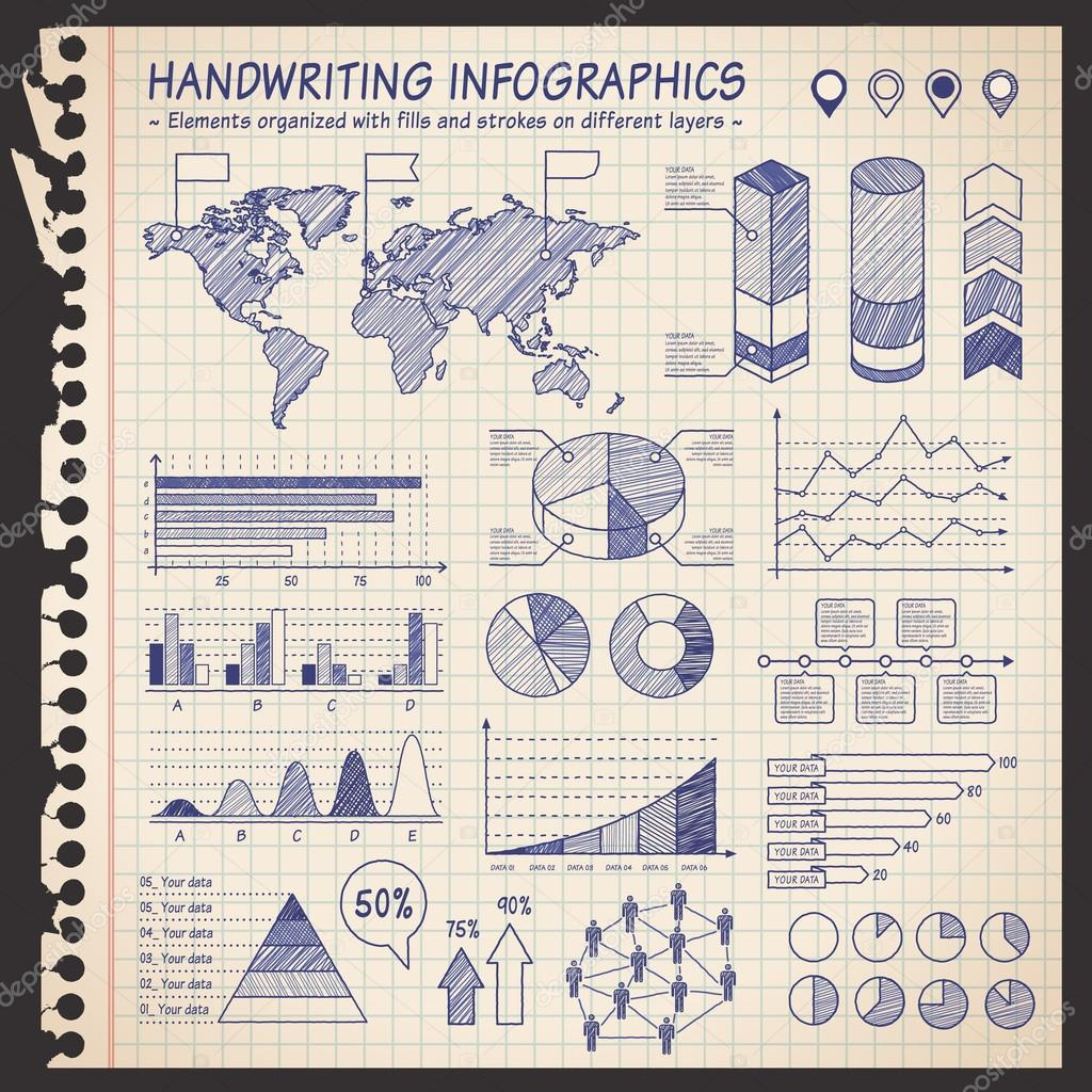 Notebook pen drawn infographics