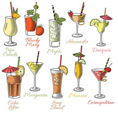 Famous Cocktails Illustrations