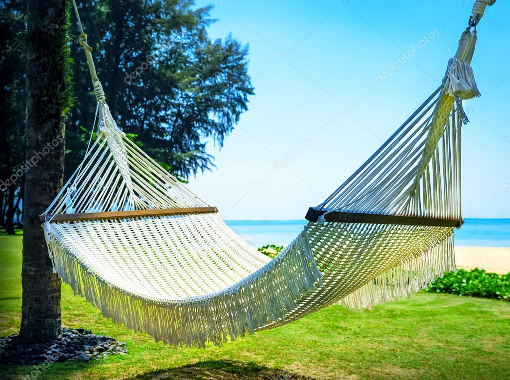 h ngematte zwischen zwei palmen am strand stockfoto vixit sell 99416850. Black Bedroom Furniture Sets. Home Design Ideas
