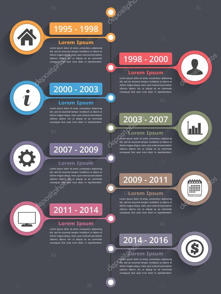 Infografía de línea de tiempo vertical — Vector de stock © human_306 ...