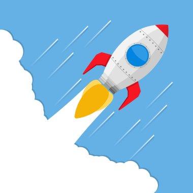 Flying rocket, vector eps10 illustration stock vector
