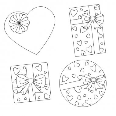 Gift boxes with bows outline set. Round square rectangular heart shaped packaging for Valentines Day or birthday. Coloring book. Stock vector hand drawn illustration isolated on white background. icon