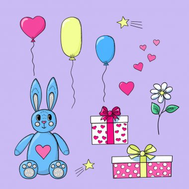 Gifts toy bunny balloons packing boxes hearts and chamomile. Doodle outline cartoon style colorful elements for valentines day and birthday festive banners and postcards. Stock vector isolated. icon