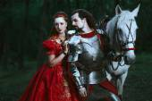 Fotografie Medieval knight with lady